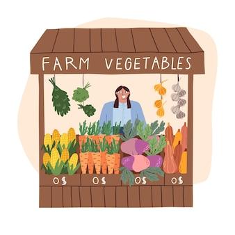 Straßenmarktschalter. straßentheke mit verschiedenem gemüse. landwirtschaftliche produkte. vektor-illustration isoliert auf weißem hintergrund.