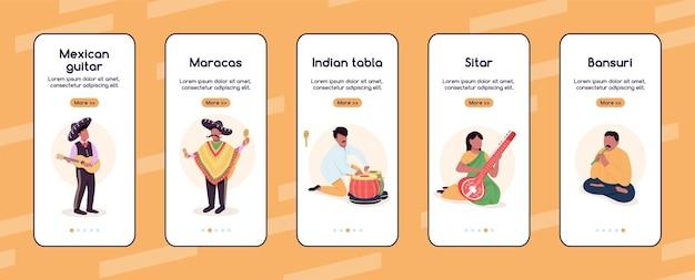 Straßenmusiker beim onboarding der mobilen app-bildschirm-flattemplate. traditionelle musikdarsteller. walkthrough-website-schritte mit charakteren. ux, ui, gui-smartphone-cartoon-schnittstelle, falldrucke-set