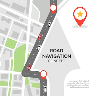 Straßennavigation konzept