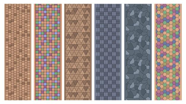 Straßenpflasterstein, ziegelsteinoberflächen, pfadtexturen. gehweg gepflasterte steine, gartenweg steinboden vector illustration set. ziegelsteinpflasterwegemuster