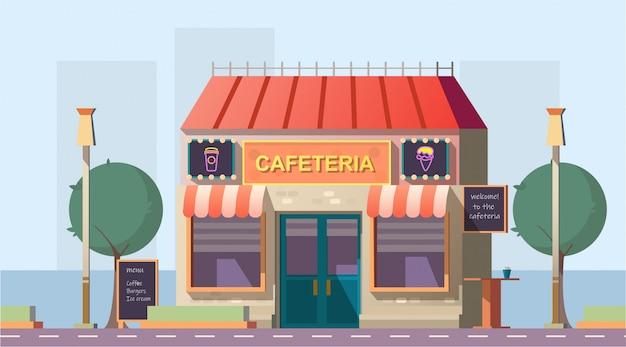 Straßenrandcafeteria oder straßencafégebäude mit menü