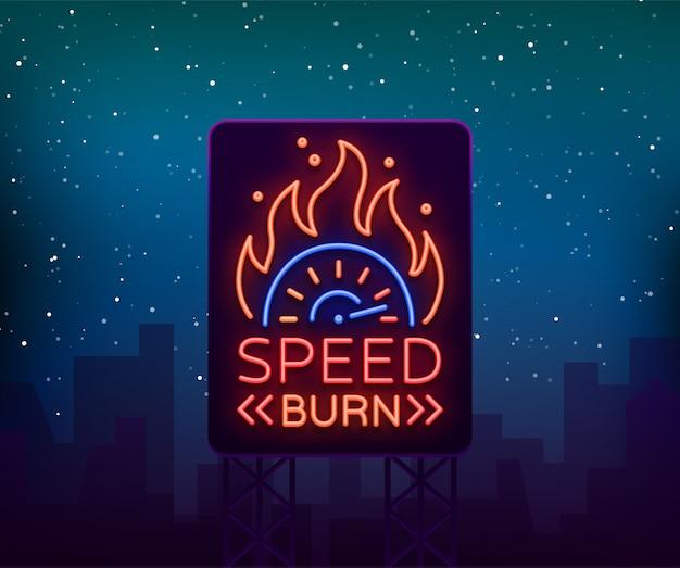 Straßenrennen billboard logo emblem vorlage vektor-logo im neon-stil.