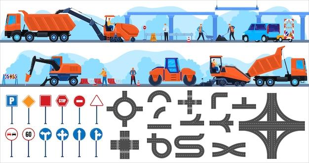 Straßenreparaturbau-vektorillustrationsreparaturmanncharakter, der an der konstruktion des ausrüstungslastwagens arbeitet, leute, die betonasphaltautobahn bauen