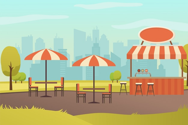 Straßenrestaurant oder bar im stadtpark-vektor