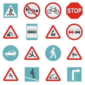Straßenschild set symbole