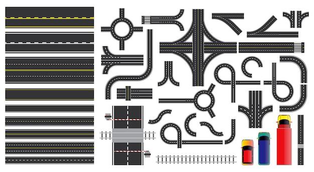 Straßenschild und straßenteile mit gestrichelter linie am straßenrand, die kreuzungen kreuzung markiert