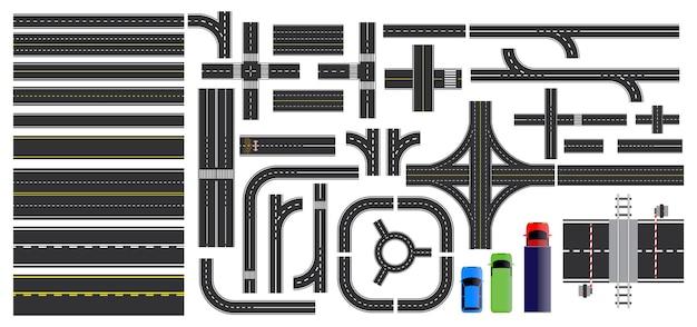 Straßenschild und straßenteile mit gestrichelter linie am straßenrand, die kreuzungen kreuzung markiert Premium Vektoren