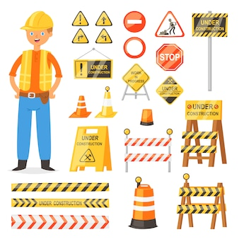 Straßenschild verkehrsstraßenwarnung und barrikadenblöcke auf autobahn- und erbauercharakterillustrationssatz des straßensperrenumweges und der blockierten straßenbaubarriere lokalisiert auf weißem hintergrund