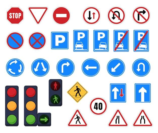 Straßenschilder. haltestelle, parkplatz, verkehrsrichtung, fußgängerüberweg, wegweiser und verbotsschilder. ampel