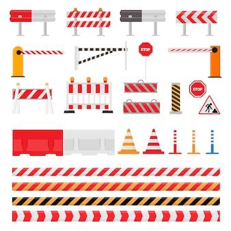 Straßensperre straßenverkehrssperrwarnung und barrikadenblöcke auf autobahnillustrationssatz des straßensperrenumweges und der blockierten straßenbaubarriere lokalisiert auf weißem hintergrund