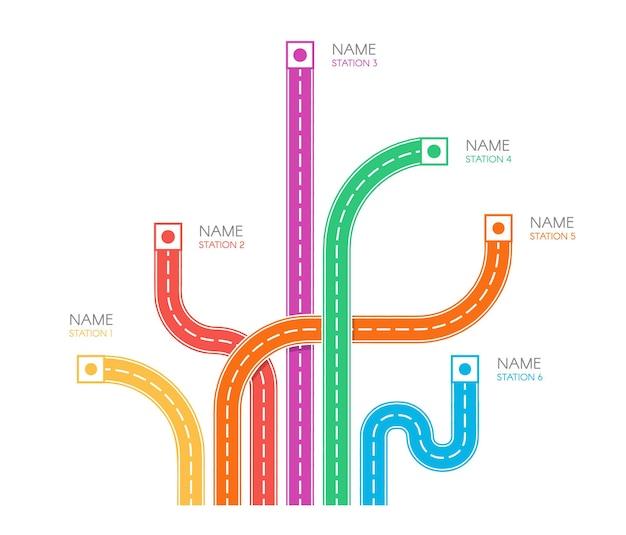 Straßenspuren richtung karte draufsicht bunte vektor-illustration auf weißem hintergrund web-infografik