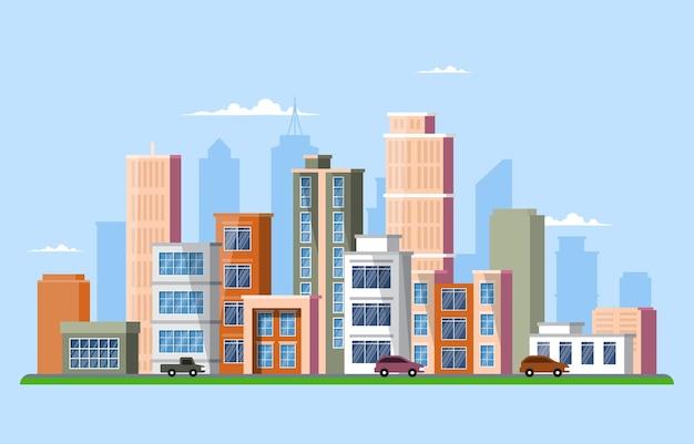 Straßenstadt-hochbau-stadtbild-skyline-geschäftsillustration