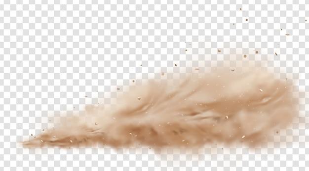 Straßenstaubwolke mit fliegenden steinen und partikeln lokalisiert auf transparentem hintergrund. eine staubwolke aus staub fliegt unter den rädern eines sich schnell bewegenden autos oder motorrads hervor. realistische illustration