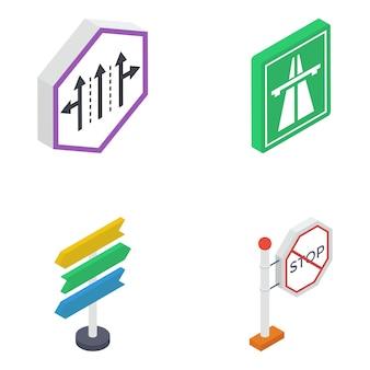 Straßensymbole isometrische pack