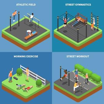 Straßentrainingsmorgenübungen und gymnastik im freien am isometrischen konzept des sportplatzes lokalisiert