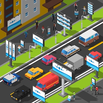 Straßenwerbung isometrische illustration