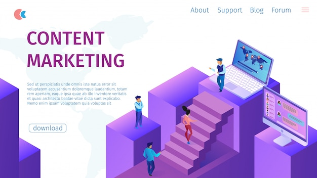 Strategie content marketing manager flat banner.
