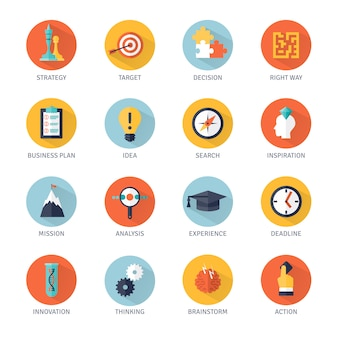 Strategie-icons set