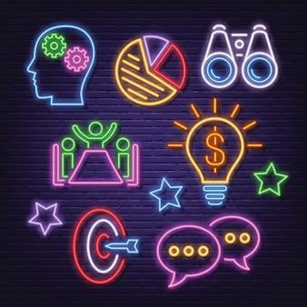 Strategie neon icons set