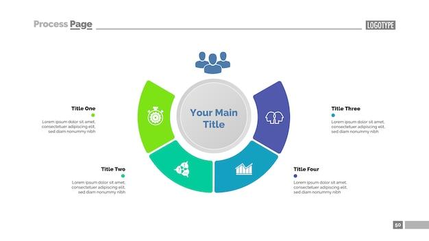 Strategiediagrammschablone mit vier schritten. geschäftsdaten. grafik, diagramm