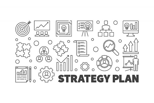 Strategieplan-vektorentwurfsillustration oder -fahne