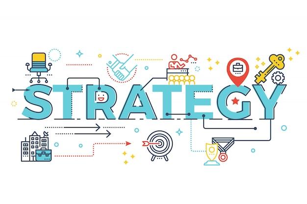Strategiewort, das typografiedesignillustration beschriftet