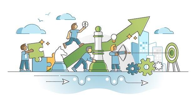 Strategische planungsarbeit mit intelligenten geschäftstaktiken bewegt das umrisskonzept. fortschritte bei der leistungsverbesserung mit projektzielvision, präziser koordination und vermeidung von hindernissen.