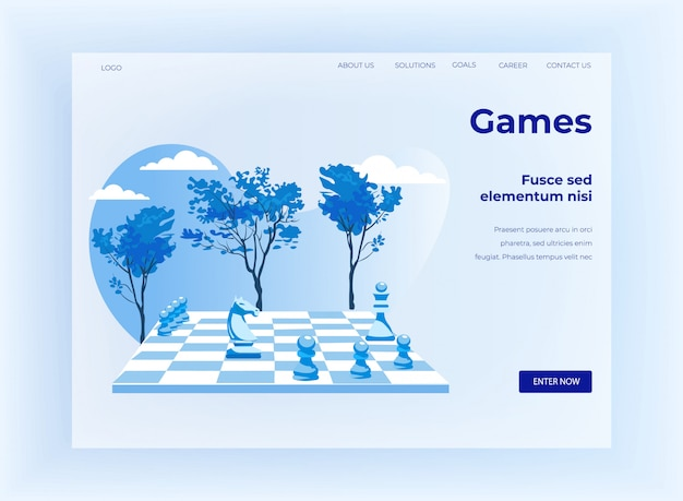 Strategisches schachspiel cartoon landing page