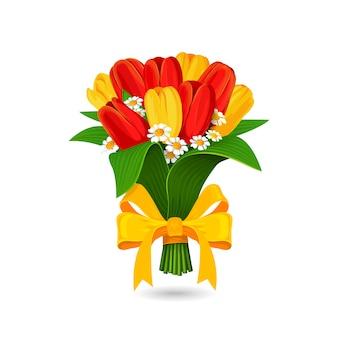 Strauß roter, gelber tulpe mit gelber schleife