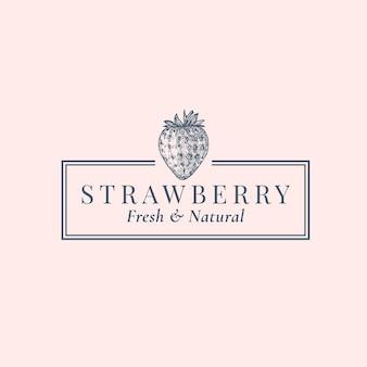 Strawberry abstract logo vorlage. hand gezeichnete beeren-sillhouette-skizze mit eleganter retro-typografie und rahmen.