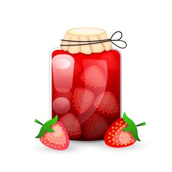 Strawberry jam-glas ist ein flacher stil mit logo-linien für etiketten.