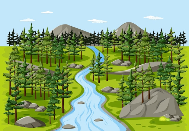 Stream in der waldnaturlandschaftsszene
