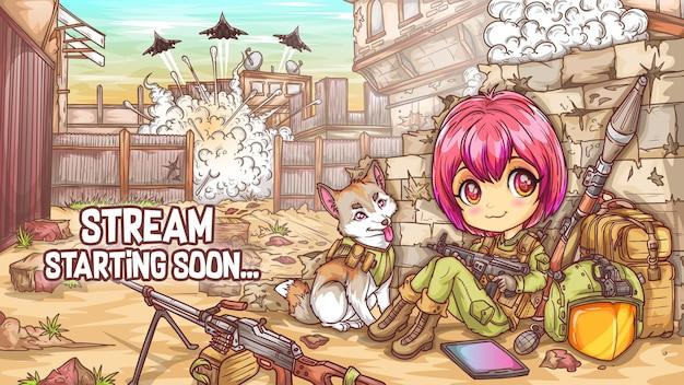 Stream startet bald zucken vorlage bearbeitbare anime manga offline-bildschirm.