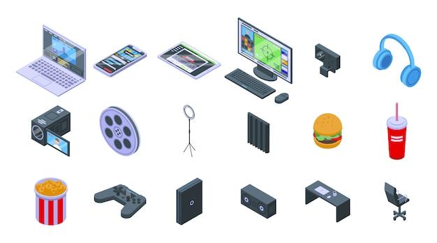 Stream-symbole festgelegt. isometrischer satz von stromvektorsymbolen für webdesign lokalisiert auf leerraum
