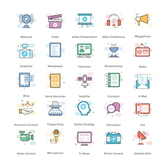 Streaming flat icons pack