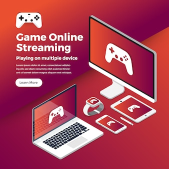 Streaming-plattform des illustrationskonzept-spiels