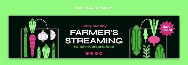 Streaming-twitch-banner für landwirte im flachen design