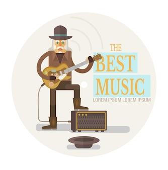 Street alter rockmusiker, der gitarre spielt, flache illustration
