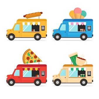 Street fast food truck set. flaches design. illustration