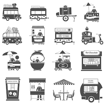Street food black icons set