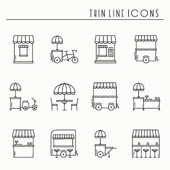 Street food einzelhandel symbole. imbisswagen, kiosk, trolley, radmarktstand, mobiles café