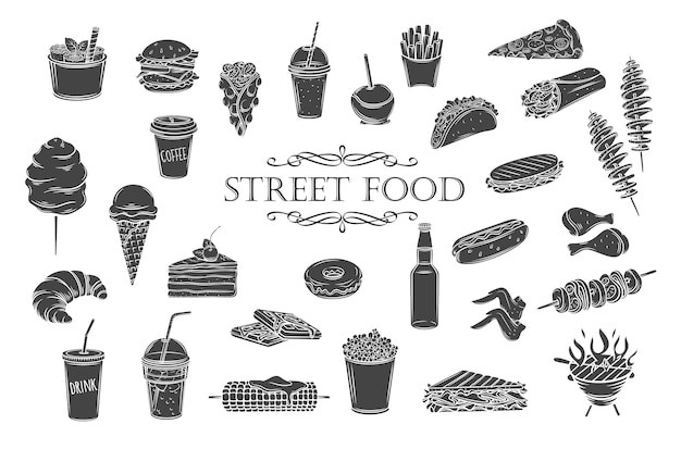 Street food glyphen-symbole. essen zum mitnehmen silhouetten, illustration für menü cafe retro-stil.