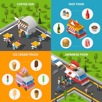 Street food konzept icons set