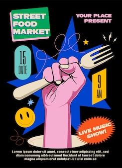Street food market oder festival oder faires poster oder banner oder flyer kreative designvorlage mit erhobener hand, die gabel mit hellen elementen auf schwarzem hintergrund hält. vektorillustration eps 10