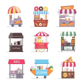 Street food stall einzelhandel festzelt mit fast-food-set. markise des lokalen marktes mit heißem kaffeegetränk, grill, tacos, eiscreme und süßigkeitenvektorillustration lokalisiert auf weißem hintergrund