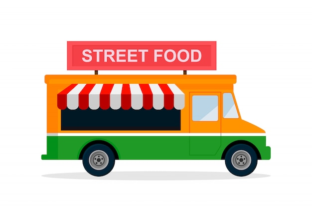 Street food truck. flaches design der vektorillustration.