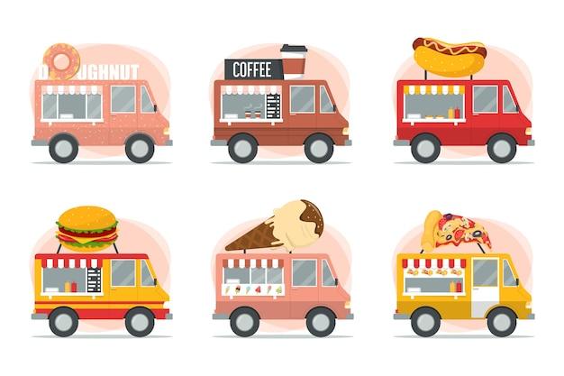 Street food trucks setzen pizza, burger, hot dog und eisverkäufer
