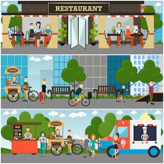 Street food und drink einrichtungen flach