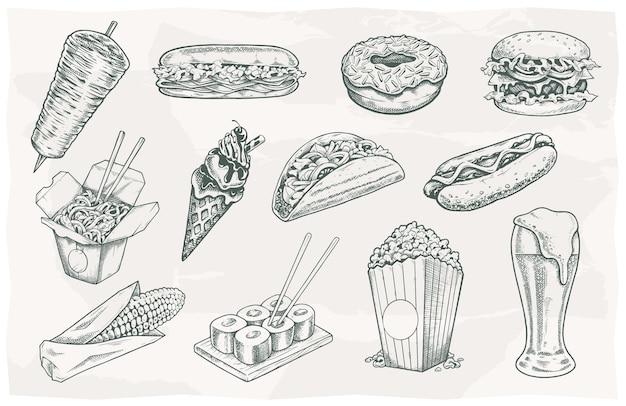 Street food und getränke vintage icons auf papierhintergrund. vektorillustrationen eingestellt.
