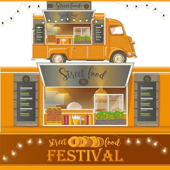 Street food van. fast-food-lieferung. vektorabbildung getrennt auf weißem hintergrund